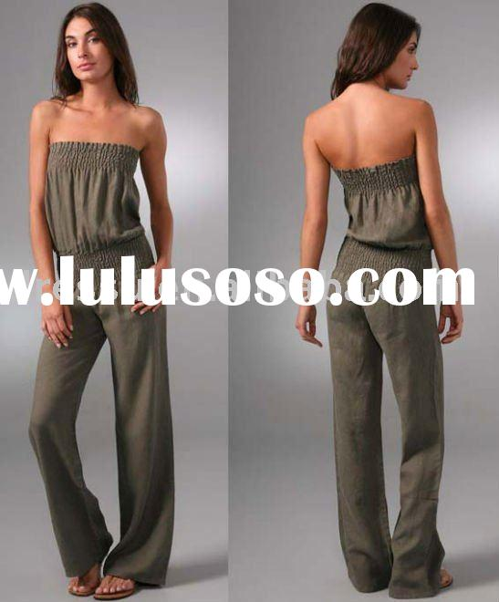 Wholesale Clothes Women, Strapless Linen Ladies Jumpsuit