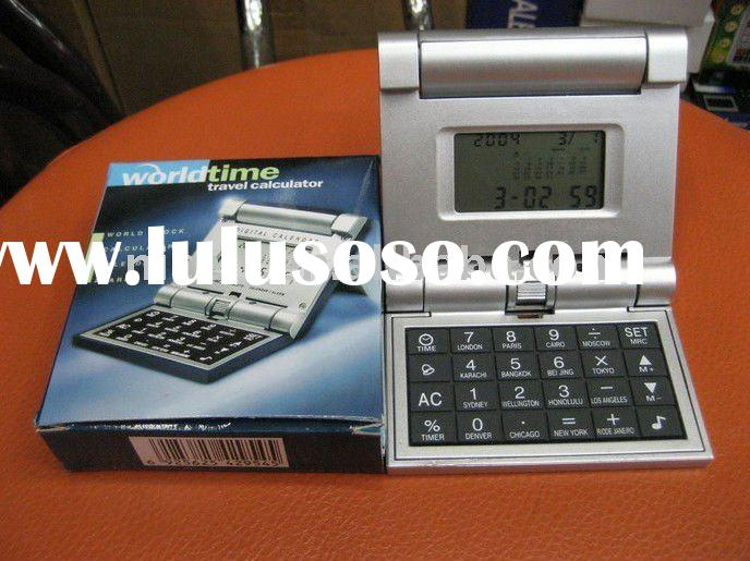 foldable electronic calendar calculator with timer alarm clock and temperature display