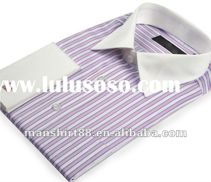 latest french cuff contrast collar stripes cufflinks dress men shirts