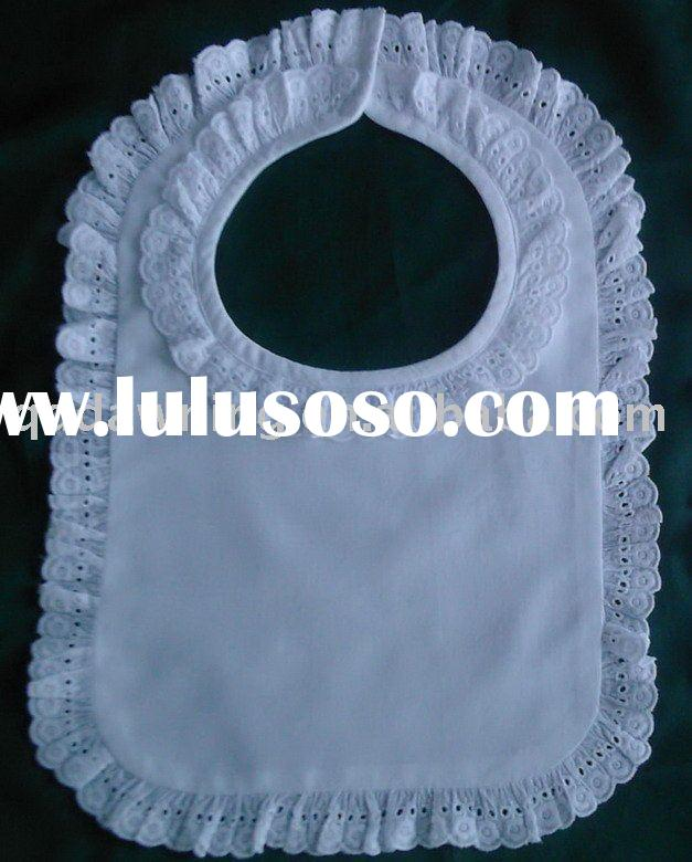 white cotton Baby Bib with lace