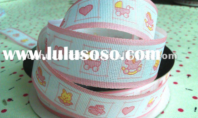 "1"" Baby Shower Grosgrain,pink baby print ribbon"