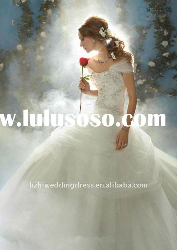 2011 exquisite strapless ball gown white tulle embroidery destination wedding dress