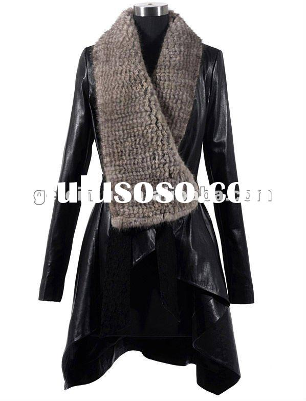 2011 ladies' fashion leather coat with mink fur collar