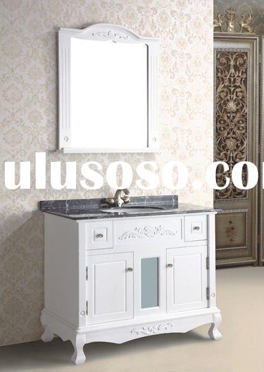 2012 HOT! Model 9248-N Granite Top Oak Glossy Lacquer White Antique Solid Wood Bathroom Vanity