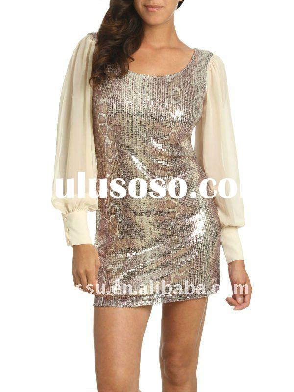 2012 Ladies Casual Dress Designs, Chiffon Long Sleeve Sequin Dress