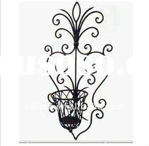 2012 china manufacture hand hammered galvanized wrought iron wall flower pot holders for garden