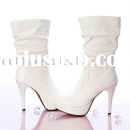2012 fashion shoes woman high heels lovely colors ladies boots hoS-6 white