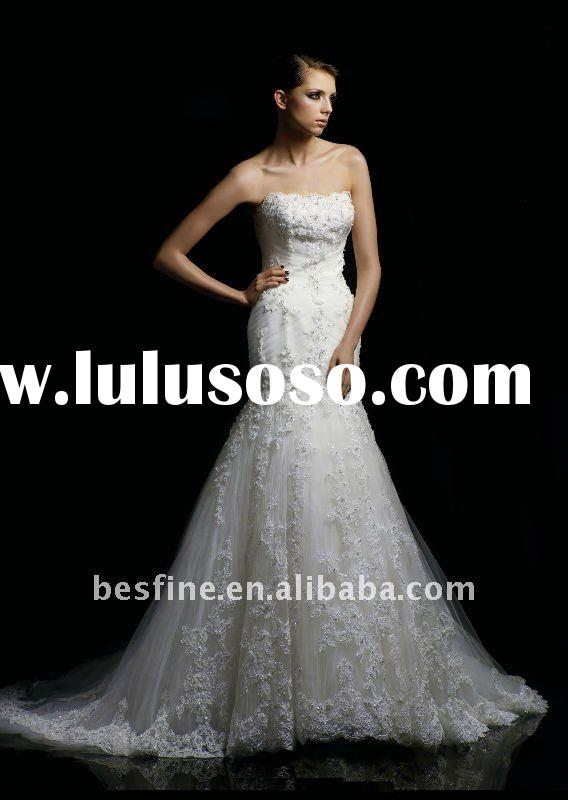 2012 popular brazil off-shoulder dream mermaid tulle and lace wedding dress