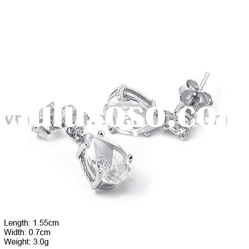 925 Silver Earring, Silver Earpin without MOQ, 925 Silver Earpin with CZ Stones (D-200)