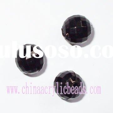 96 Faceted Acrylic Beads,black bead, plastic bead