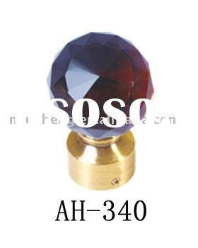 AH-340 brown crystal curtain rod head,curtain pole finial,metal finial,metal rod,metal curtain rod