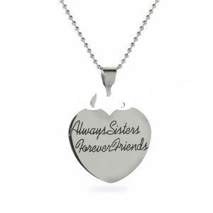 Always Sisters Forever Friends Stainless Steel Heart Pendant