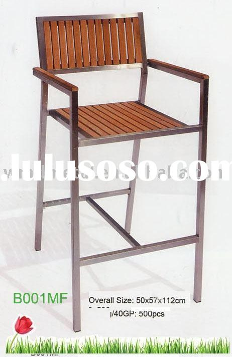 B001MB bar hight chair,stainless steel and teak outdoor furniture,modern,lounge,garden table