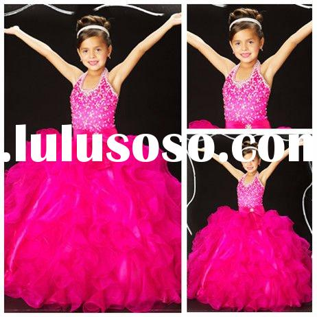 Ball Gown Halter Organza Children Party Dresses 2012
