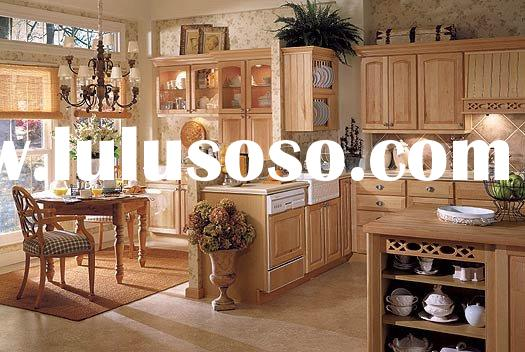 Birch Wooden Kitchen Cabinets with Granite Countertop and Stainless Steel Sinks