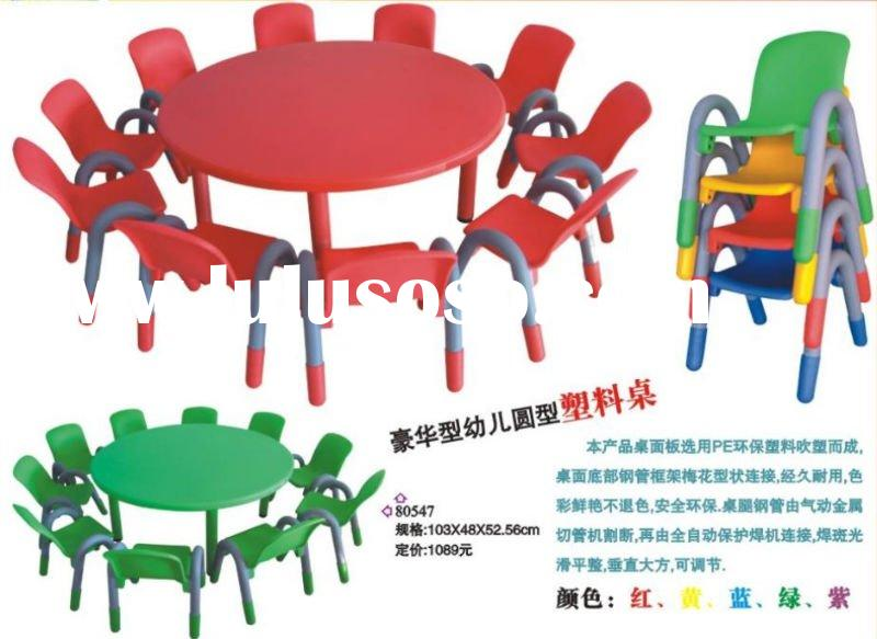 Children's plastic chair and table