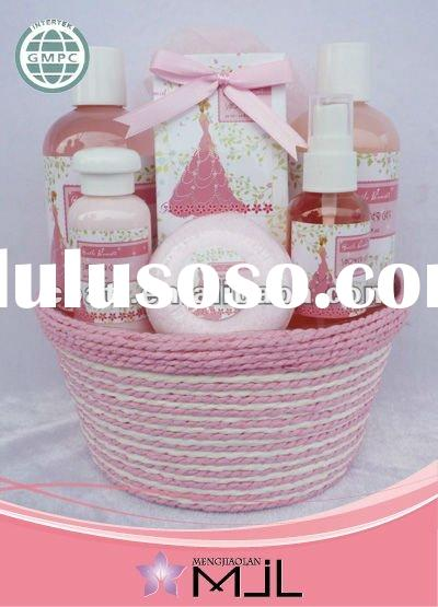 China bath and body fragrance works in basket