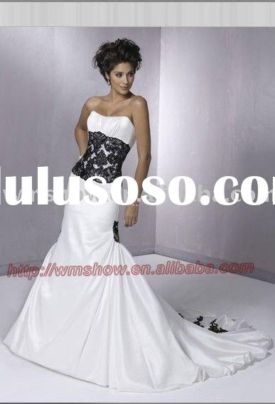 Classical & Popular Style Strapless Embroidered Mermaid White Black Lace Wedding Dress