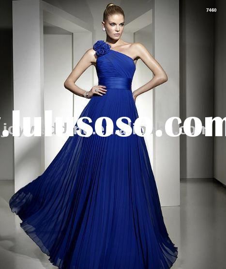 EG0858 Free shipping chiffon new arrival one shoulder blue Evening Dress