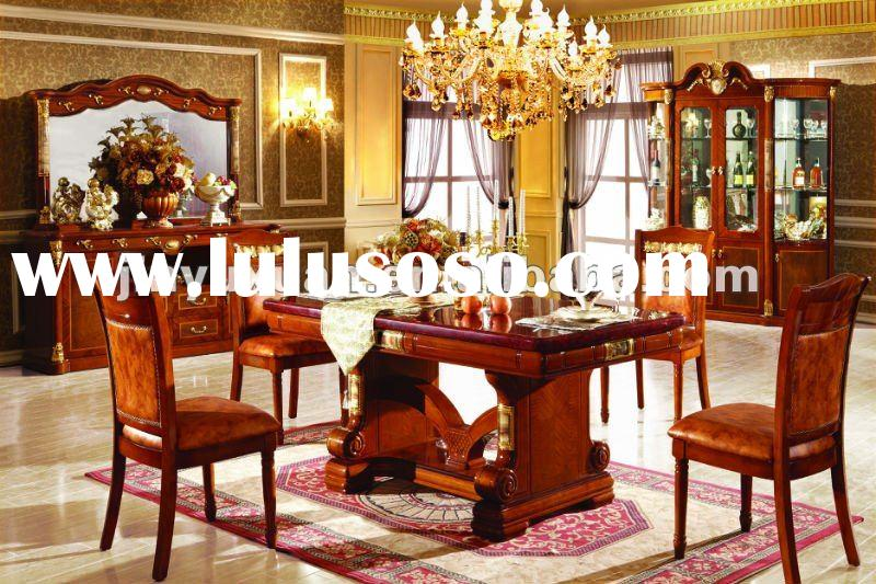 European Style High Class Marble Long Dining Table with Wooden Dining Chairs T216C#