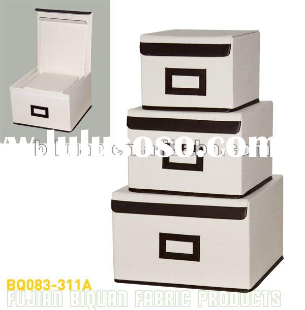 Foldable non woven fabric covered storage boxes