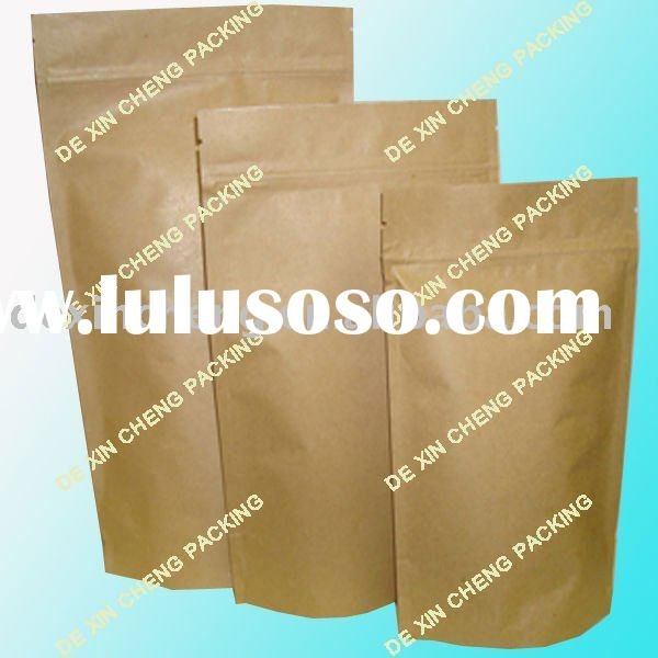 Food Brown Packaging Paper Bag With Zip Top