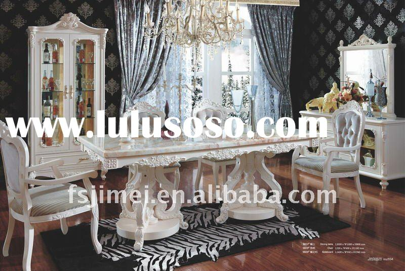 French style antique Solid wood Dining Table and Chair
