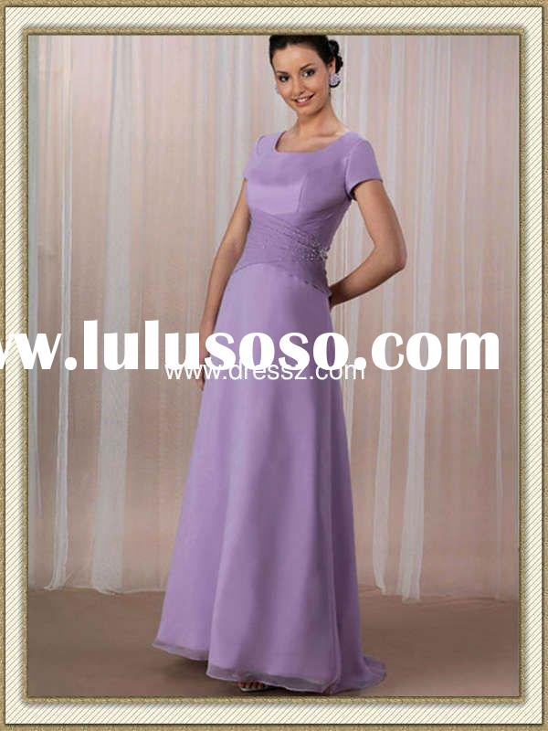 Glamourous Dropped Waist Short Sleeves Long Purple Formal Evening Dress With Scoop Neck
