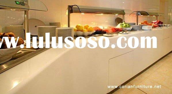 HT-014 Acrylic solid surface Corian built Hotel buffet table