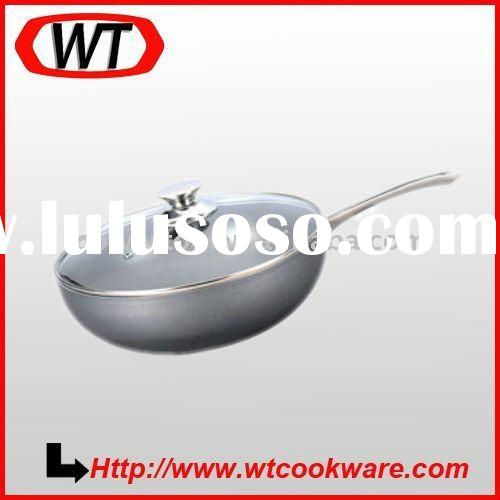 Hard Anodized Eco-Friendly Nonstick Stir-Fry Wok with Glass Cover