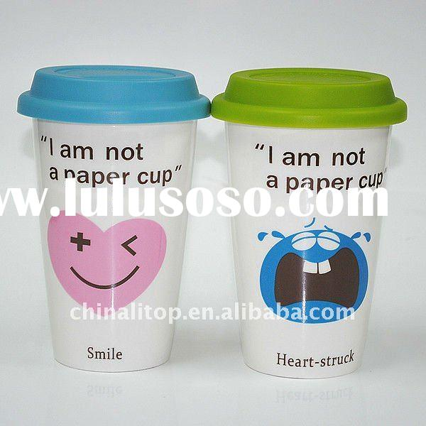 Hot Promotional Porcelain Thermal Travel Christmas Mug Coffee Cup Gift with Silicone Lid & Heatp
