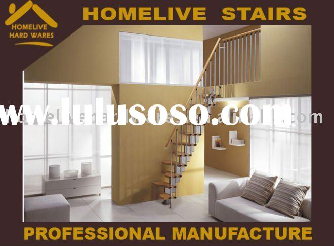 Household stair Fashion contracted stainless steel and wood pedal whole stair