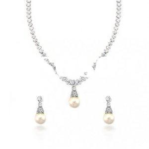 Jewelry 10MM South Sea Shell Pearl Diamond Cubic Zirconia Bridal Necklace Earrings Set Earrings