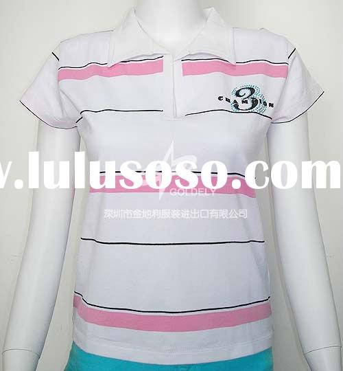Ladies yarn dyed top,Polo t shirt, spandex shirt for ladies