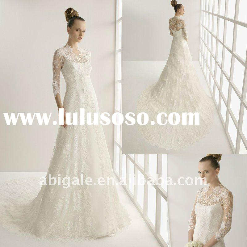 Long sleeve no train wedding dresses long sleeve no train for Wedding dress no train