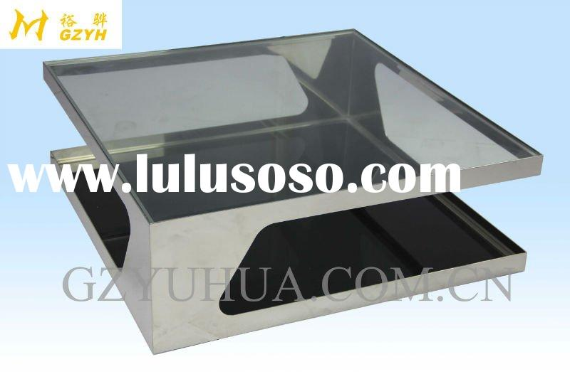 Luxury design square glass coffee table furniture for living room