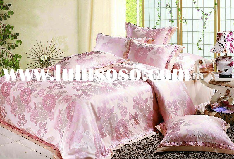 Luxury jacquard&embroidery Immitation silk bedding set