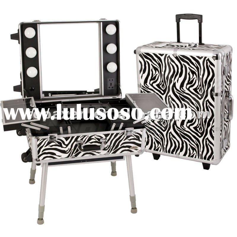 Makeup Zebra Print Portable Studio Cosmetic Rolling Station Case 11ZB