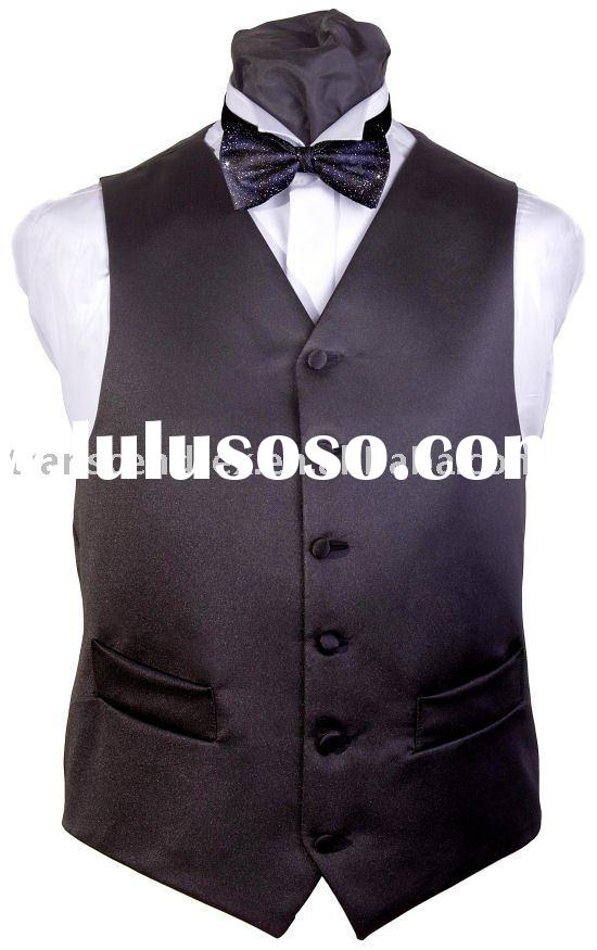 Men's Polyester Waistcoat & Bow Tie,Men's dress wear