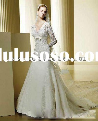 NB579 Modest Long lace Sleeves Bridal Wedding Dress