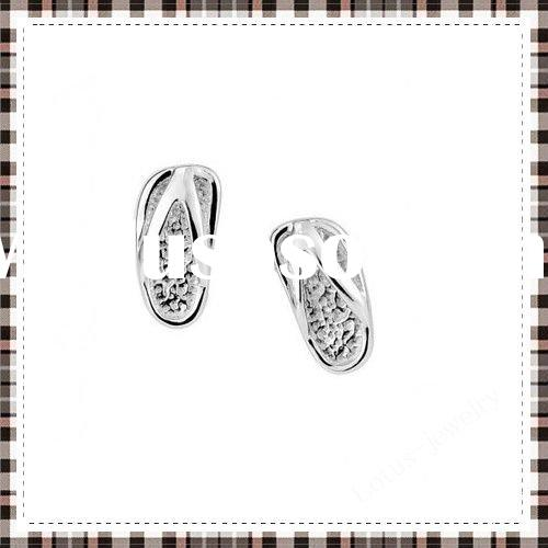 Neat silver stud earrings of 100% solid genuine 925 sterling silver earrings shoes shape beautiful w