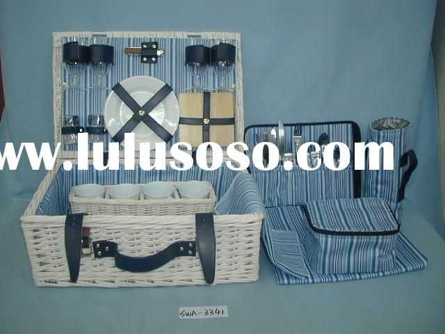 New and Luxury Picnic Basket for 4 Persons with Picnic Tote Bag