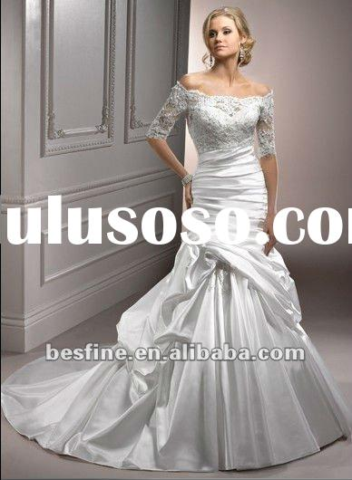 No.Symphony long sleevese satin and lace fabric ball gown 2012 wedding dress
