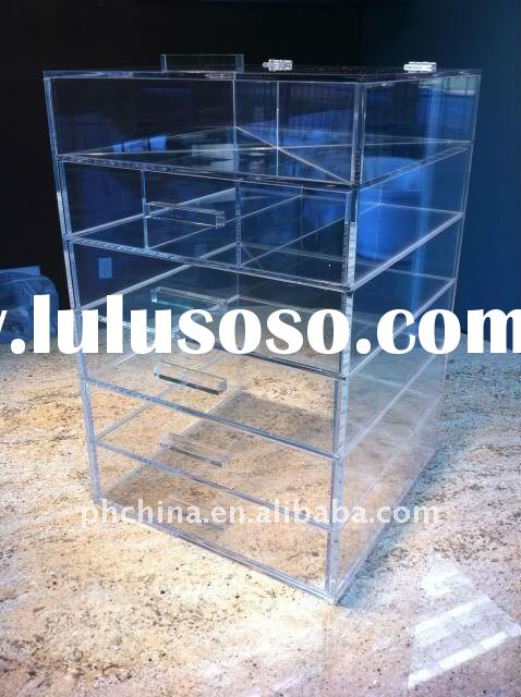 PE-345 6 Drawers Clear Acrylic Makeup Organizer / Cosmetic Box with a Lid
