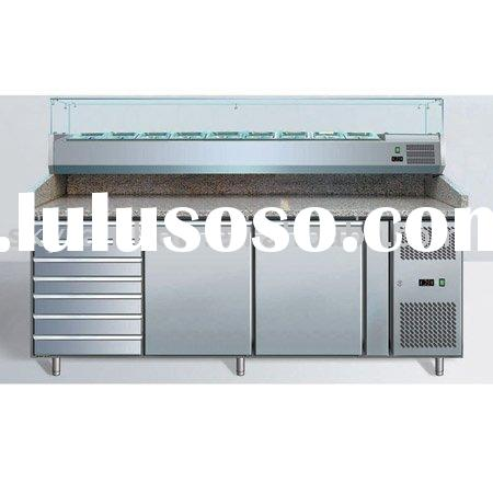 PZ2610TN refrigerated pizza counter/prep table with granite top and ingredient pan cooler/countertop