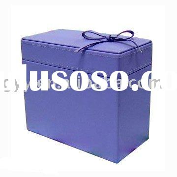 Paper gift box with PU cover and ribbon bow