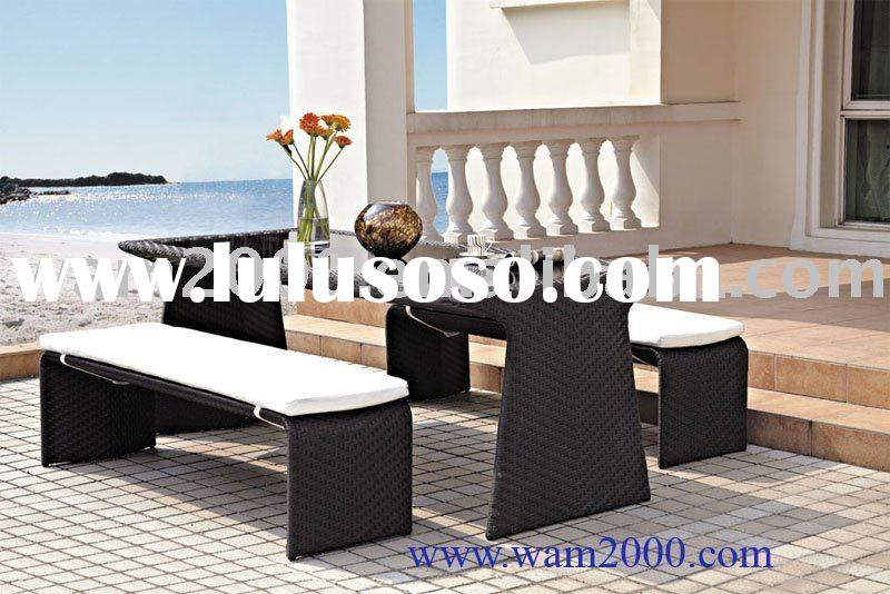 Patio garden aluminum pe rattan table and chairs for outdoor