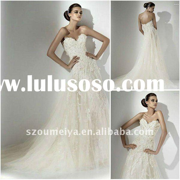 Pearl Beaded Designer Wedding Dress Lace