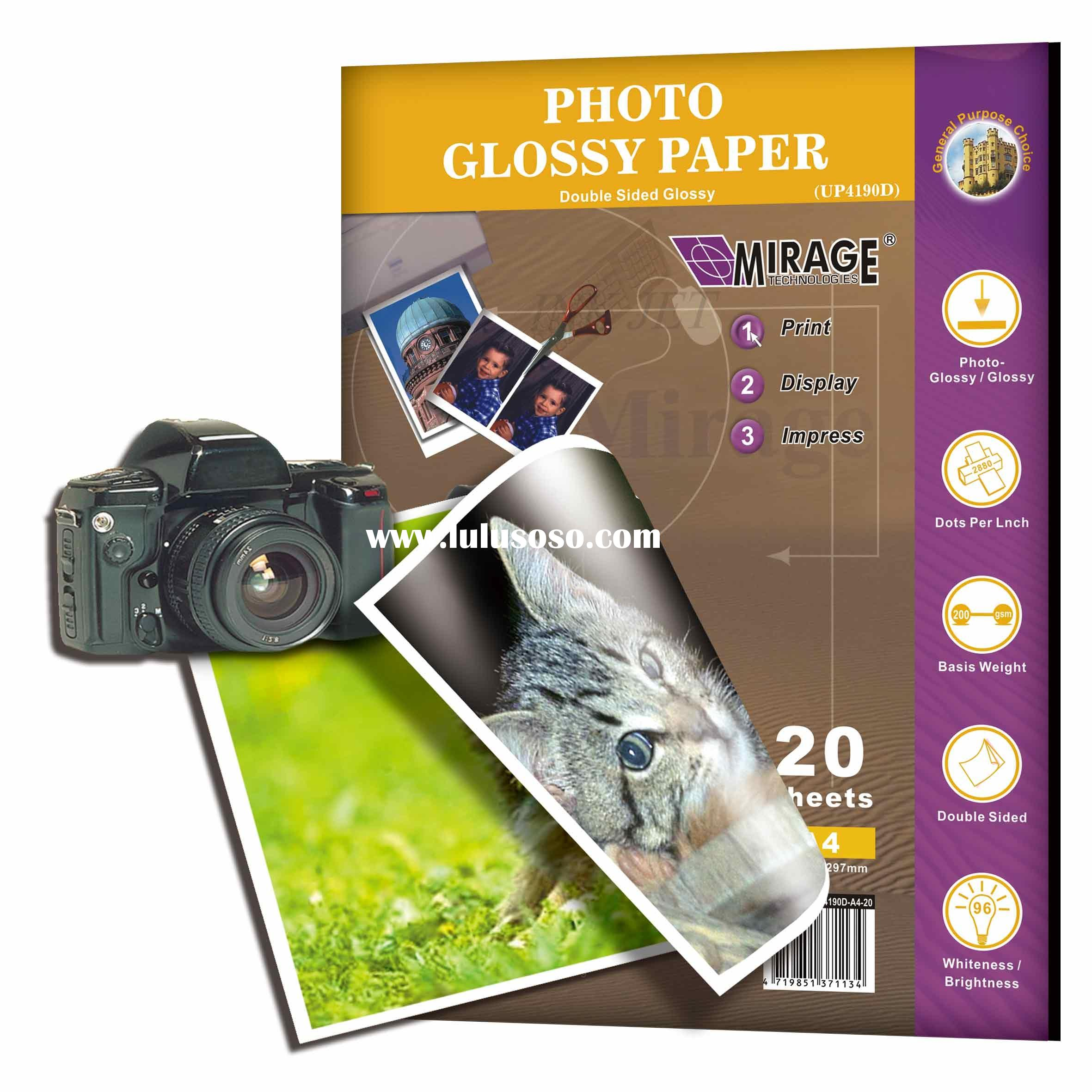 Photo Glossy Paper-double sides printing, 200 gsm, A4, 20 sheets