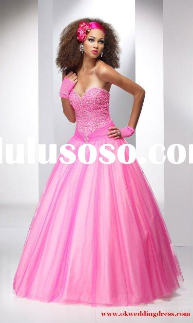 Pink tulle beaded bodice ball gown sweet heart prom dress